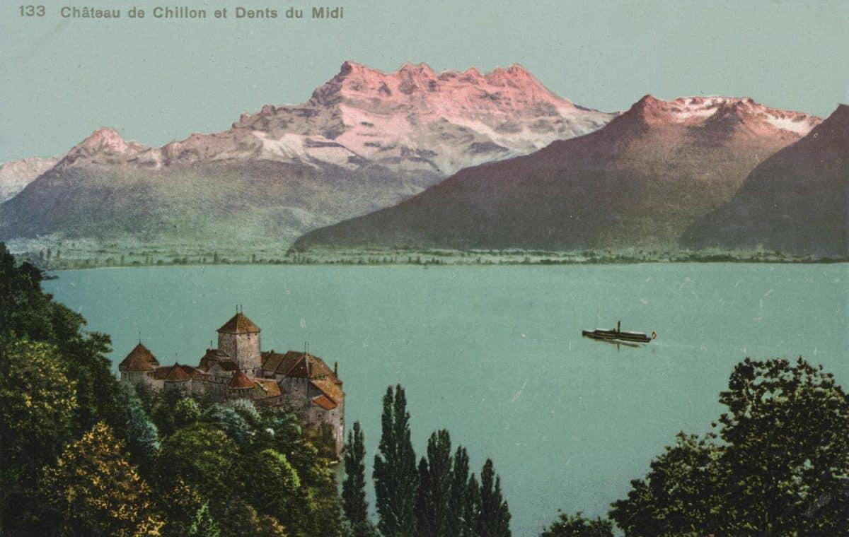 Carte postale. Château de Chillon et Dents du Midi