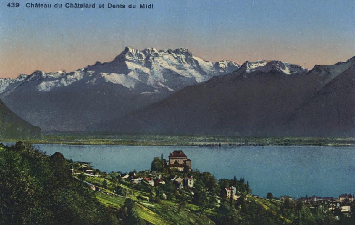 Carte postale. Château du Châtelard et Dents du Midi