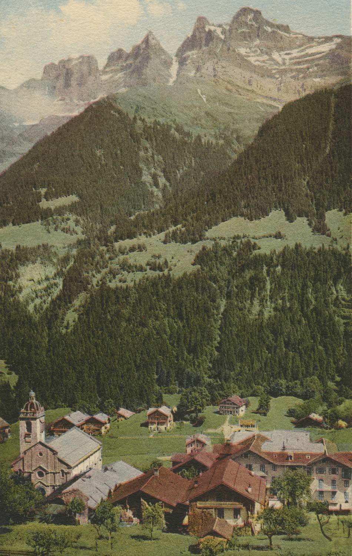 Carte postale. Champéry et la Dent du Midi