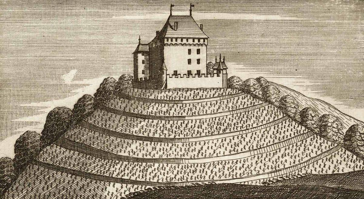 Gravure. Chatelar, appartient à Monsieur Bondeli ancien seigneur Comand d'Arbourg, Baron de Chatelar, 1744