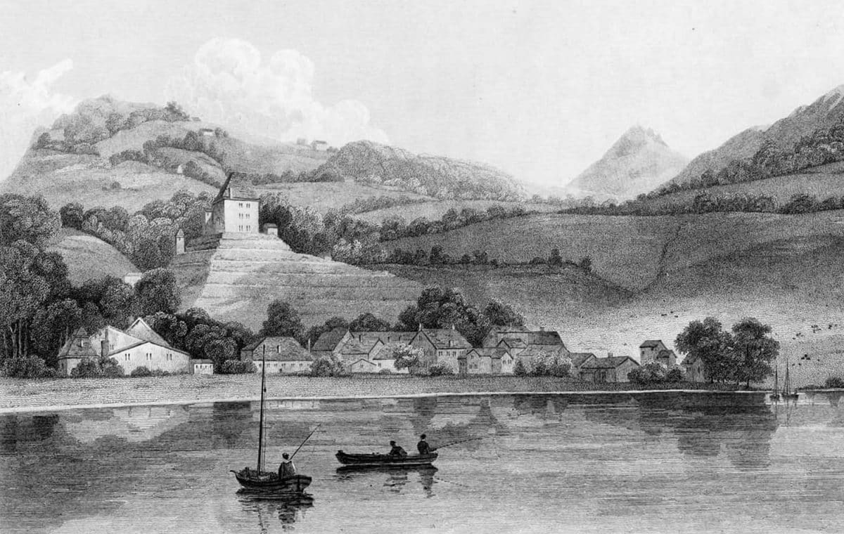 Gravure. Clarens, on the Lake of Geneva