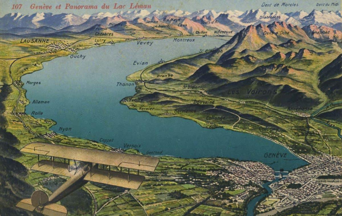 Carte postale, Genève et Panorama du Lac Léman
