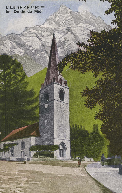 Carte postale, L'Eglise de Bex et les Dents du Midi