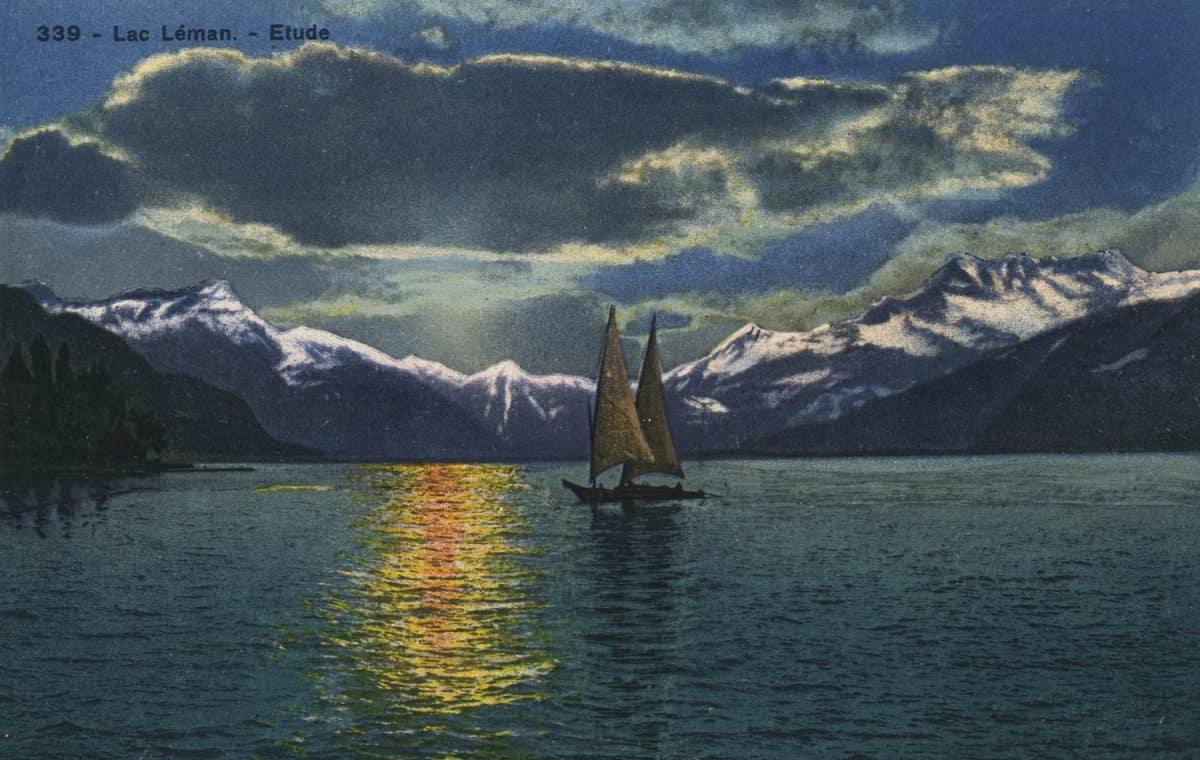 Carte postale, Lac Léman - Etude