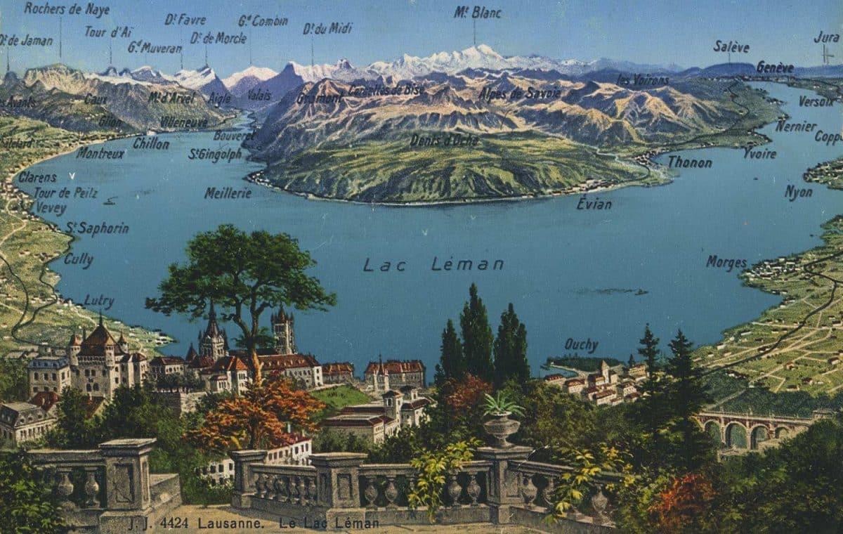 Carte postale, Lausanne. Le Lac Léman