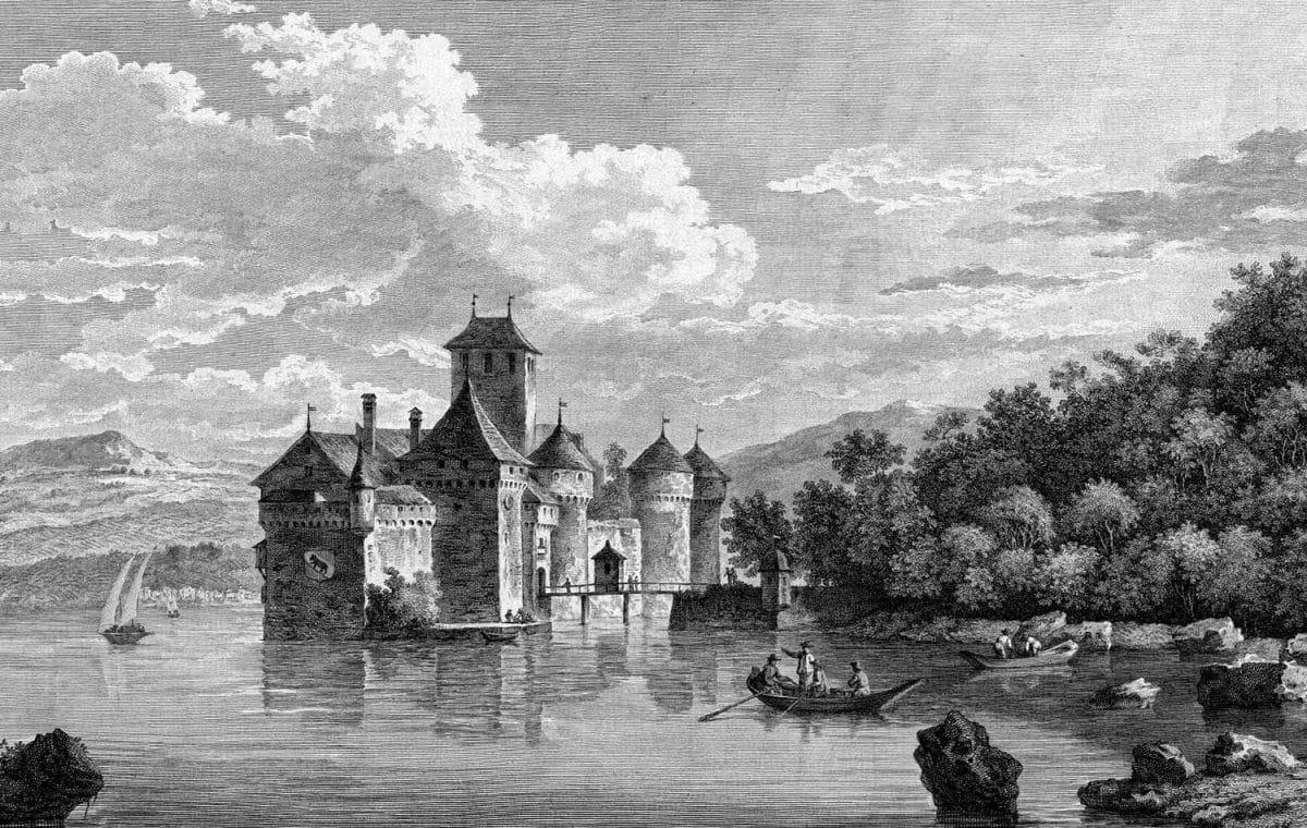 Gravure. Le château de Chillon, vu du côté de Vevey