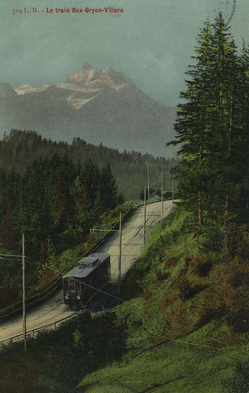 Carte postale. Le train Bex-Gryon-Villars
