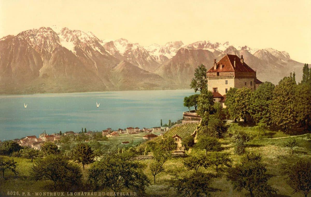 Photochrome. Montreux, le château du Châtelard