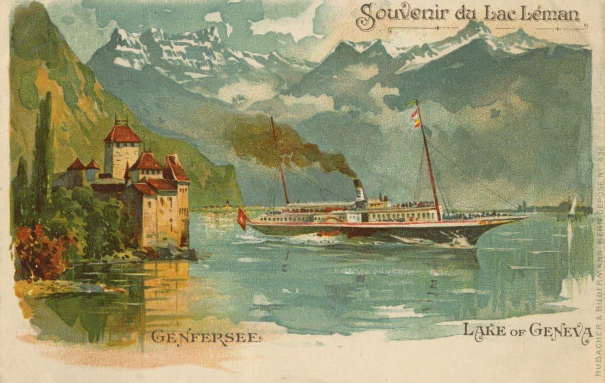Carte postale, Souvenir du Lac Léman, Genfersee, Lake of Geneva