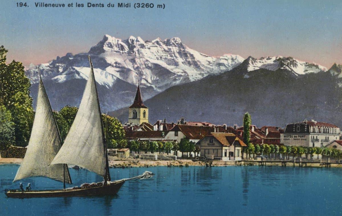 Carte postale, Villeneuve et les Dents du Midi (3260 m)