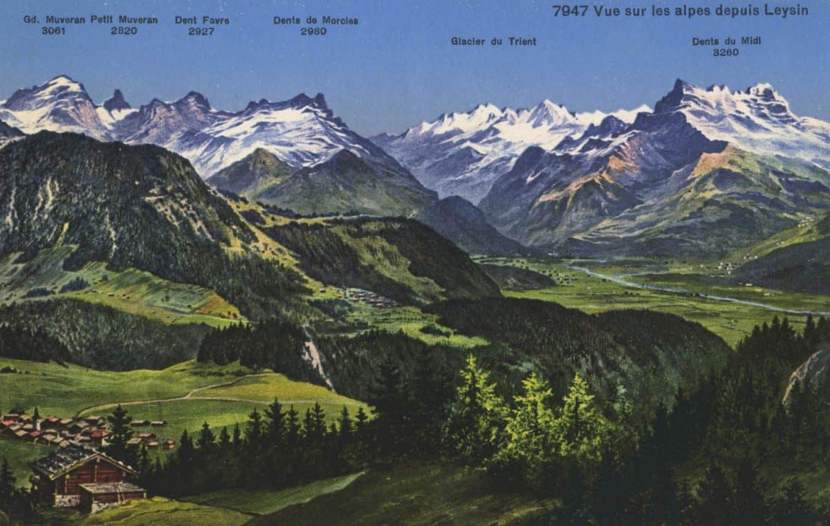 Carte postale, Vue sur les Alpes depuis Leysin