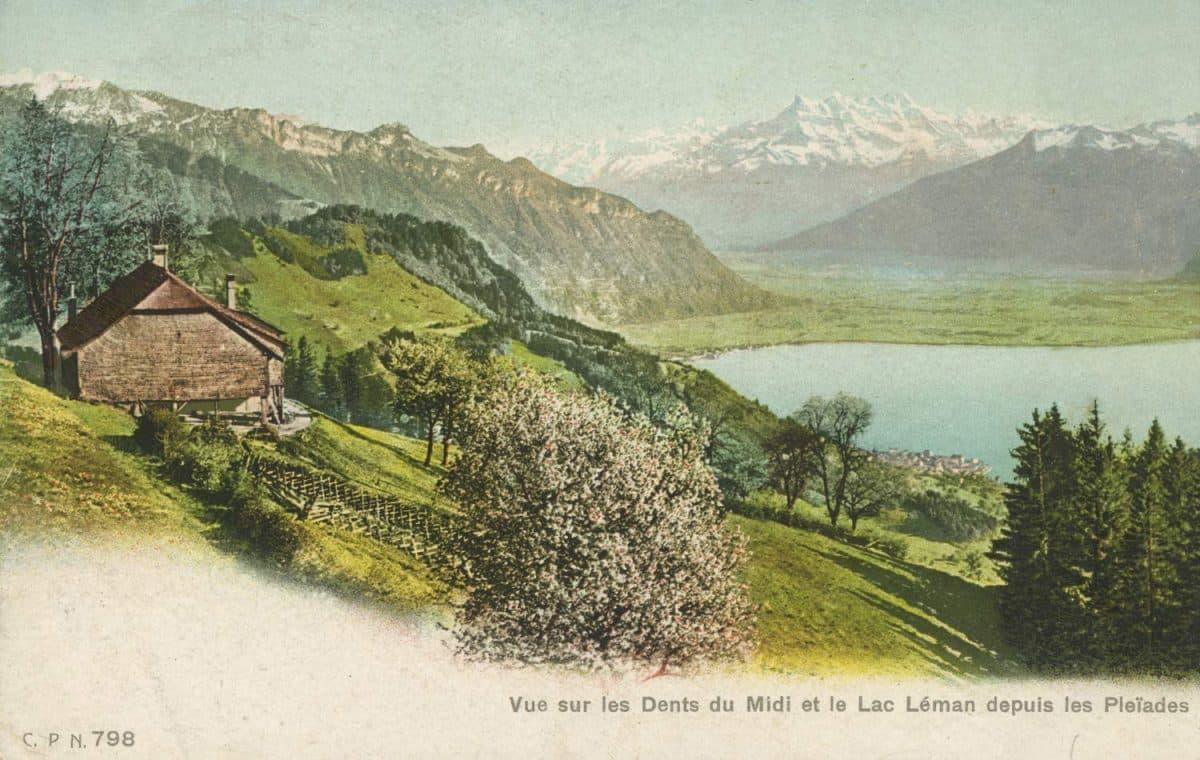 Carte postale, Vue sur les Dents du Midi et le Lac Léman depuis les Pléïades