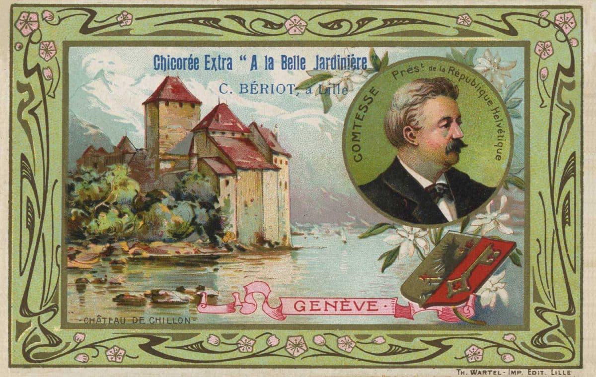 Carte postale. Château de Chillon. Genève. Chicorée extra. A la belle jardinière