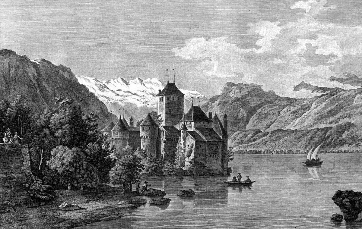 Gravure. Vue du château de Chillon, dans le Canton de Berne, sur le Lac de Genève, prise du côté du Valais
