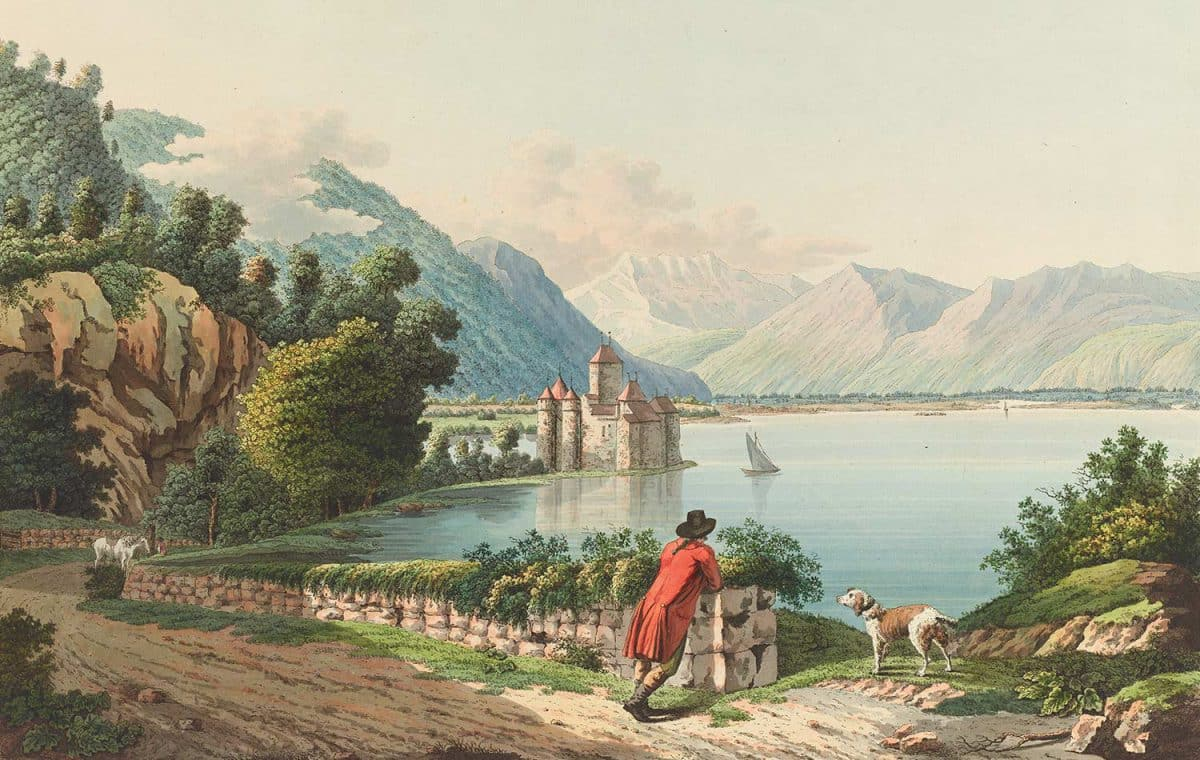 Gravure. Vue du château de Chillon sur le Lac de Genève au Canton de Berne