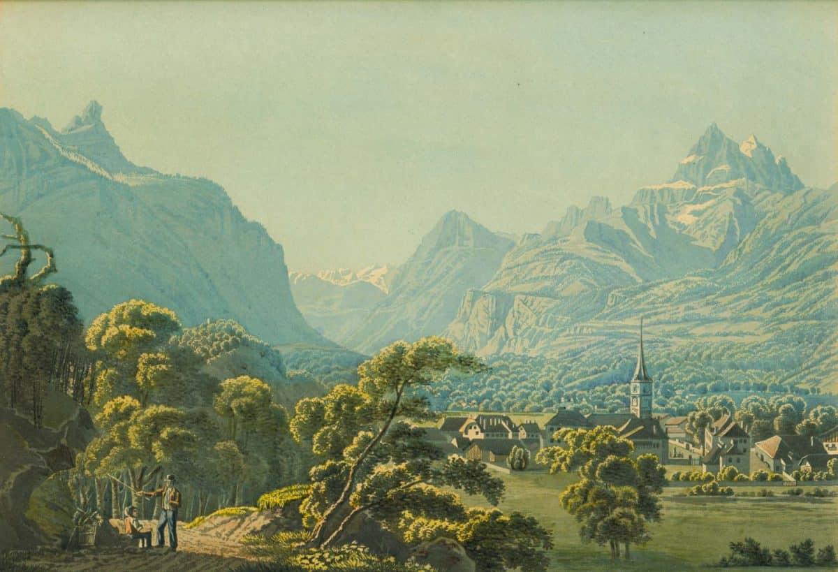 Gravure. Bex au Canton de Vaud, 1835