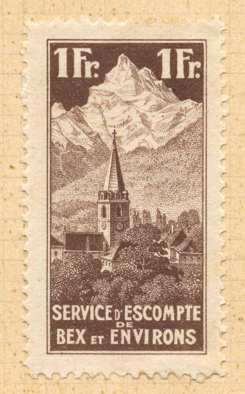 Timbre. Service d'escompte de Bex et environs, fondation le 1 mai 1922, épreuve 1Fr