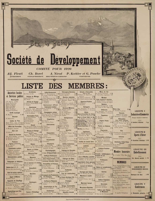 """Affiche. """"Bex les Bains"""", Société de Développement, comité pour 1920"""
