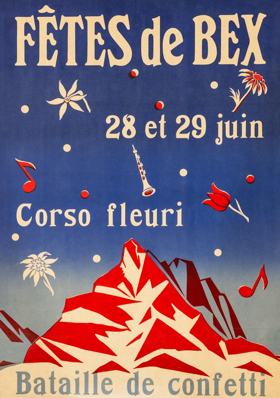 """Affiche. """"Fêtes de Bex, bataille de confetti, Corso fleuri"""""""