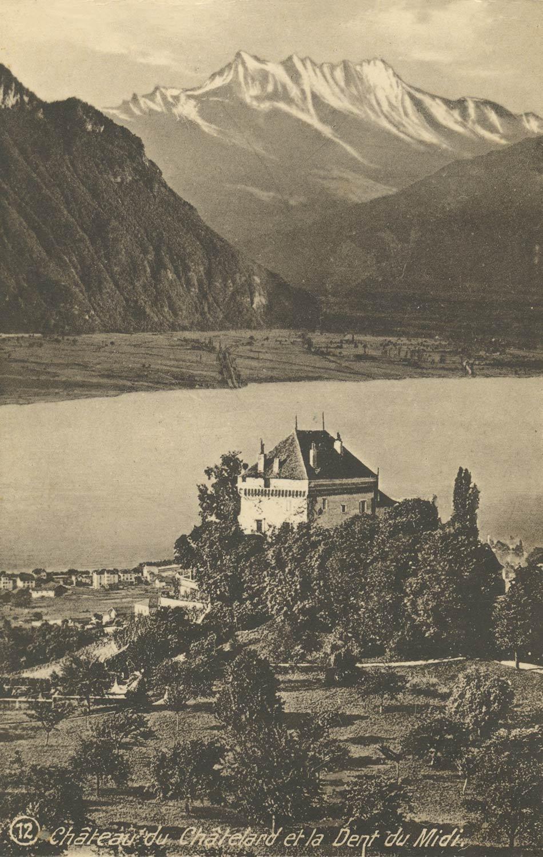 Carte postale. Château du Châtelard et la Dent du Midi