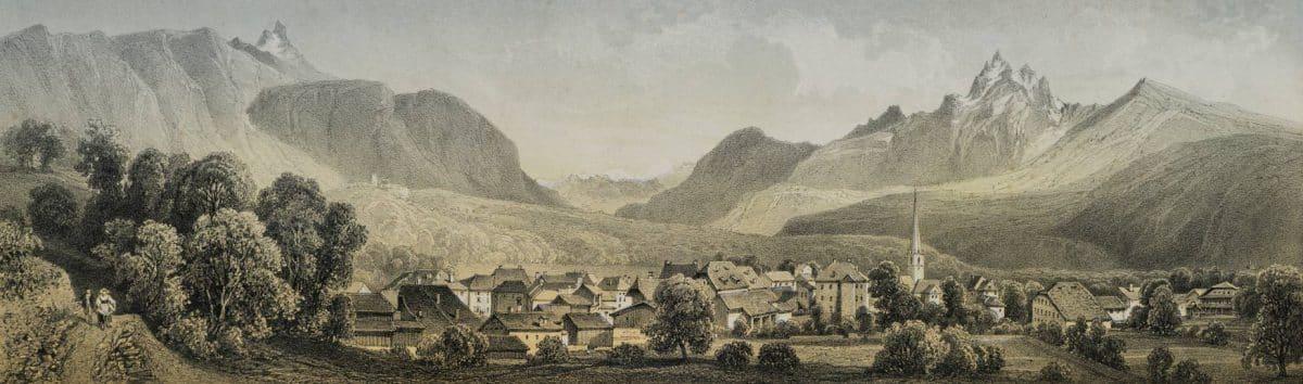 Gravure. Panorama de Bex, Canton de Vaud