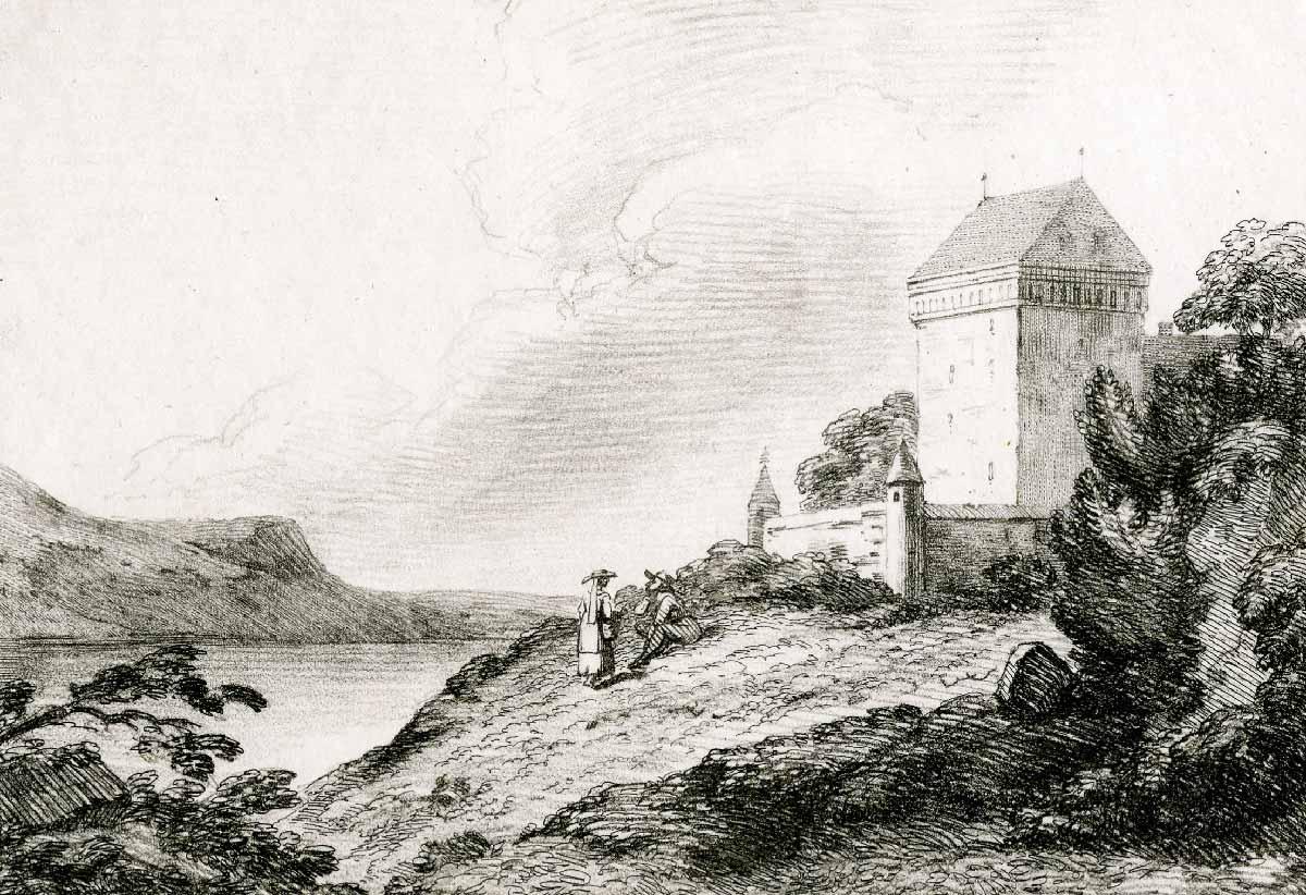 Gravure. Château de Clarens, 1792. Imprimé par Sir Charles Lyell