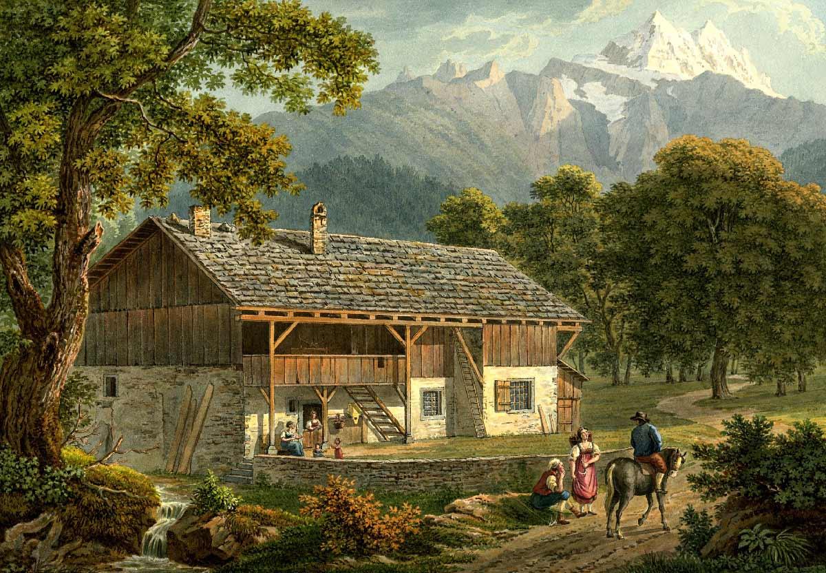 Gravure. Maison de paysan à Bex et Dent du Midi, 1810 - 1836. Dessiné d'après nature par Samuel Frey