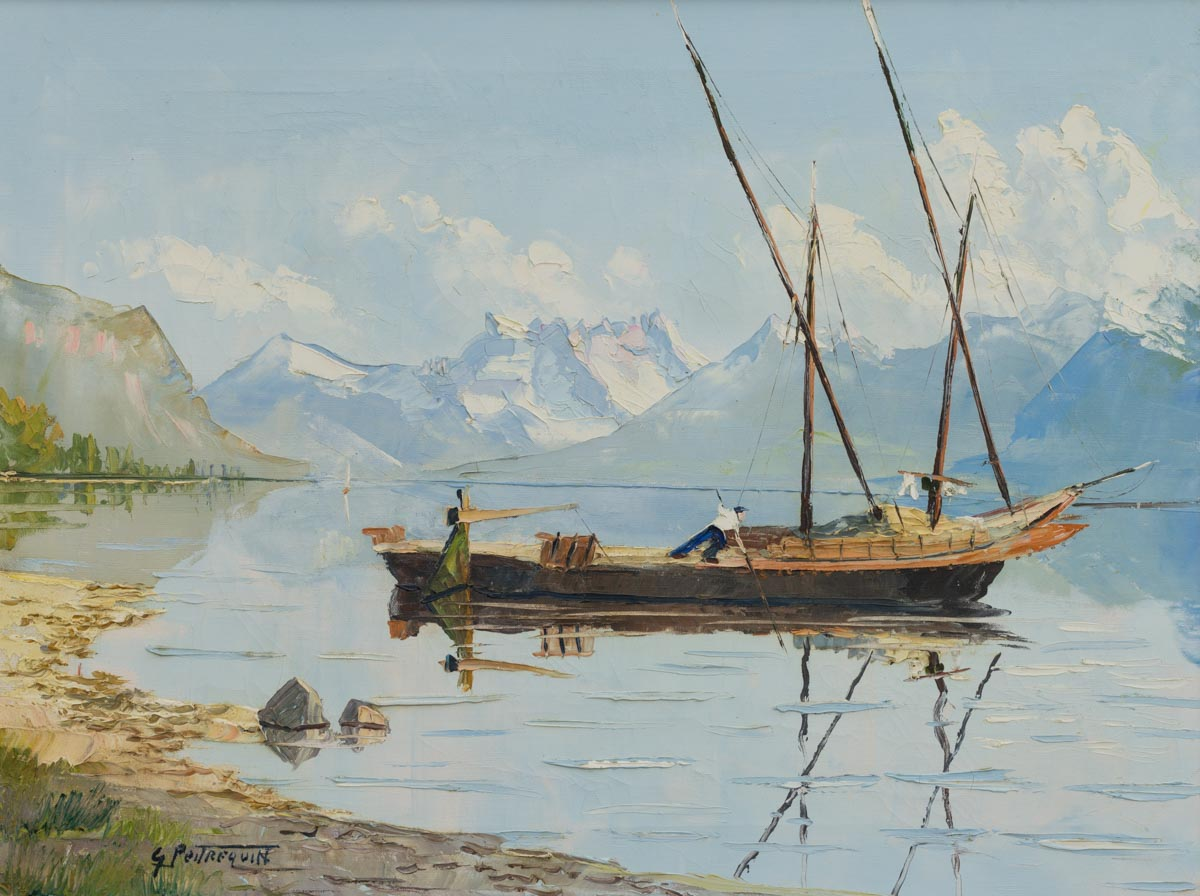 """Gaston Peitrequin (1915-1990), """"Barque du Léman au pied du Lavaux"""", vers 1940-1950. Huile sur toile 59.5 x 44.5cm, collection privée"""