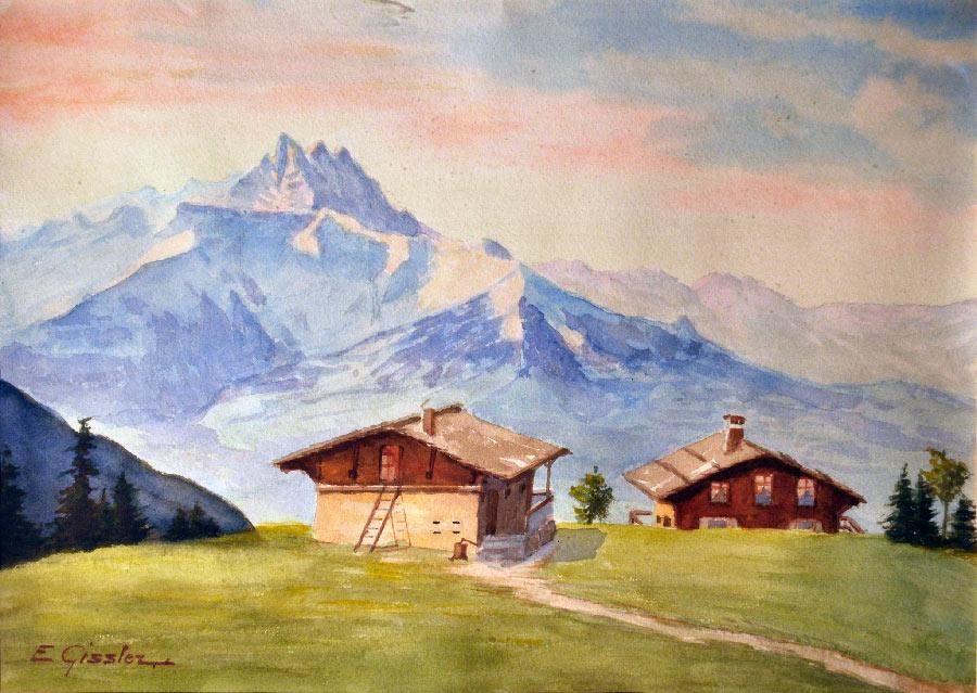 """La """"Croix-de-Gryon"""", date inconnue. Aquarelle sur papier. Collection privée"""