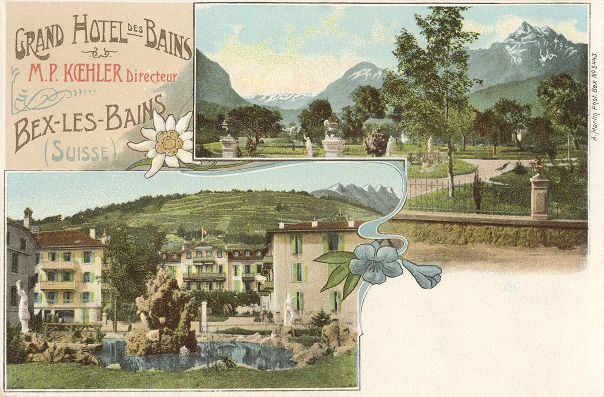 Carte postale. Grand Hôtel des Bains - Bex-les-Bains (Suisse)
