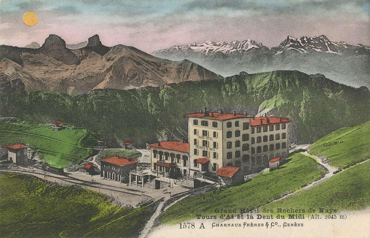 Carte postale. Grand Hôtel des Rochers de Naye. Tours d'Aï et la Dent du Midi