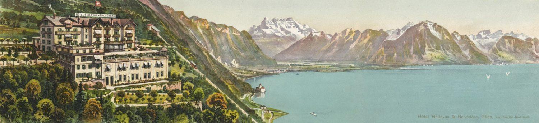Carte postale. Hôtel Bellevue et Belvédère, Glion, sur Territet Montreux