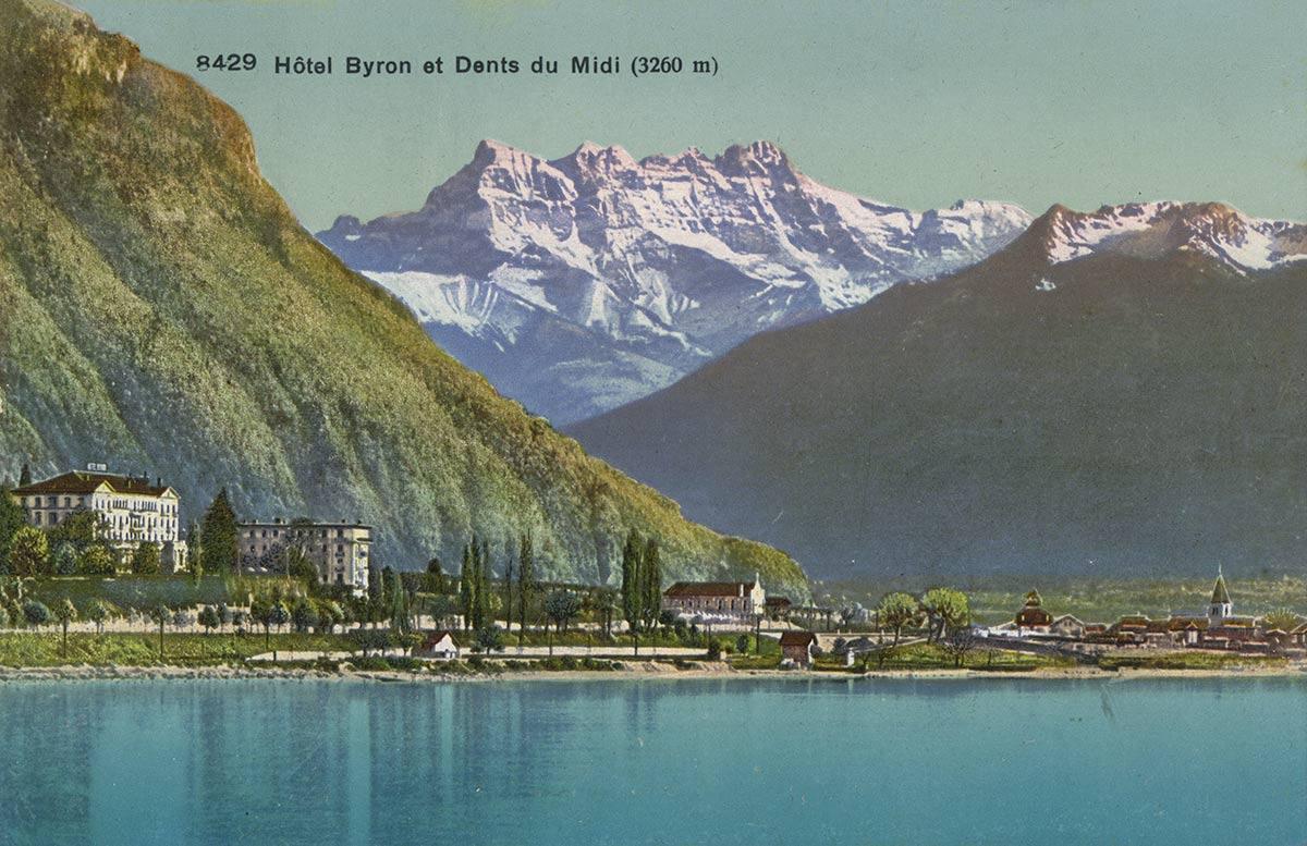 Carte postale. Hôtel Byron et Dents du Midi