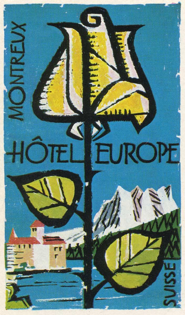 Etiquette de bagage. Hôtel Europe - Montreux
