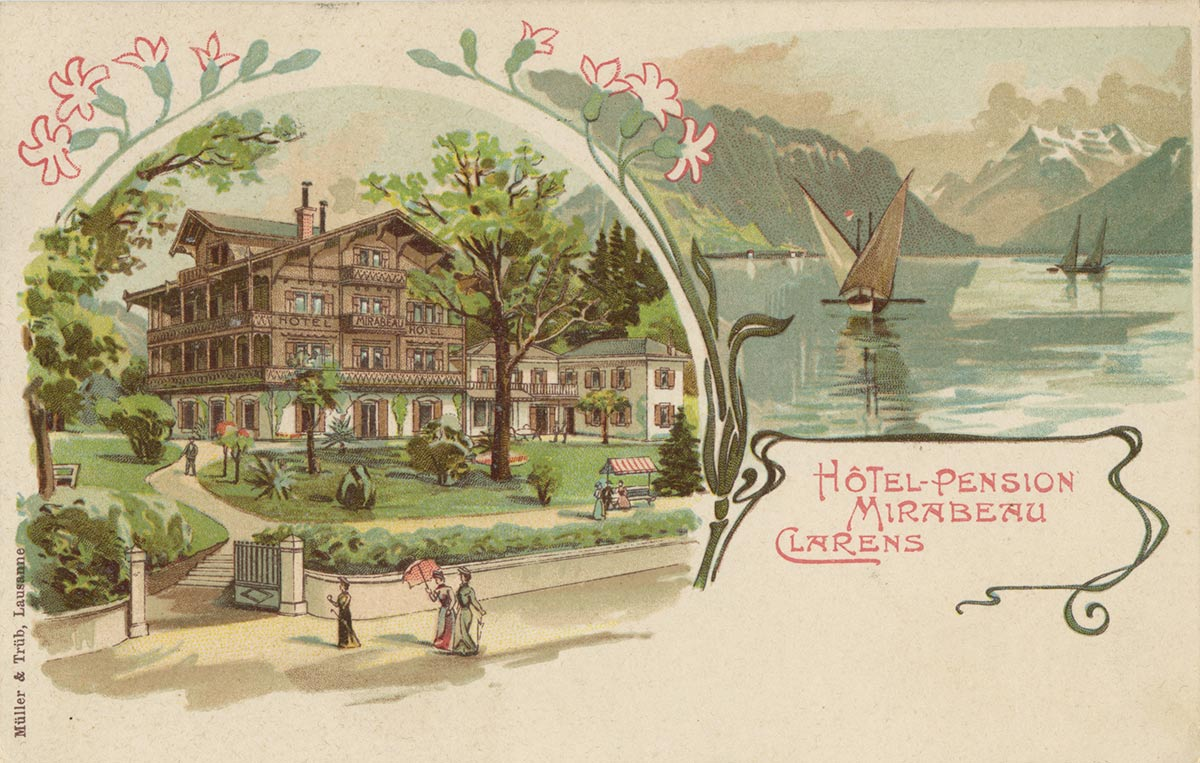 Carte postale. Hôtel - Pension Mirabeau, Clarens