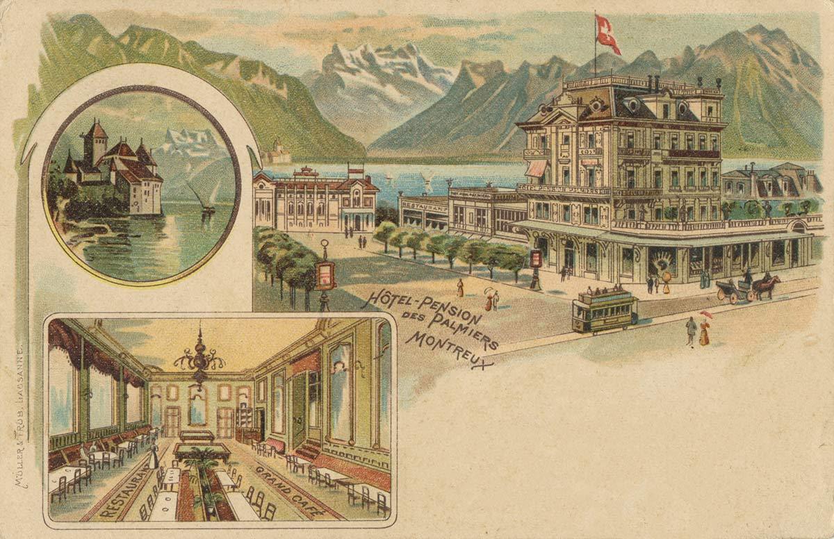 Carte postale. Hôtel - Pension des Palmiers - Montreux