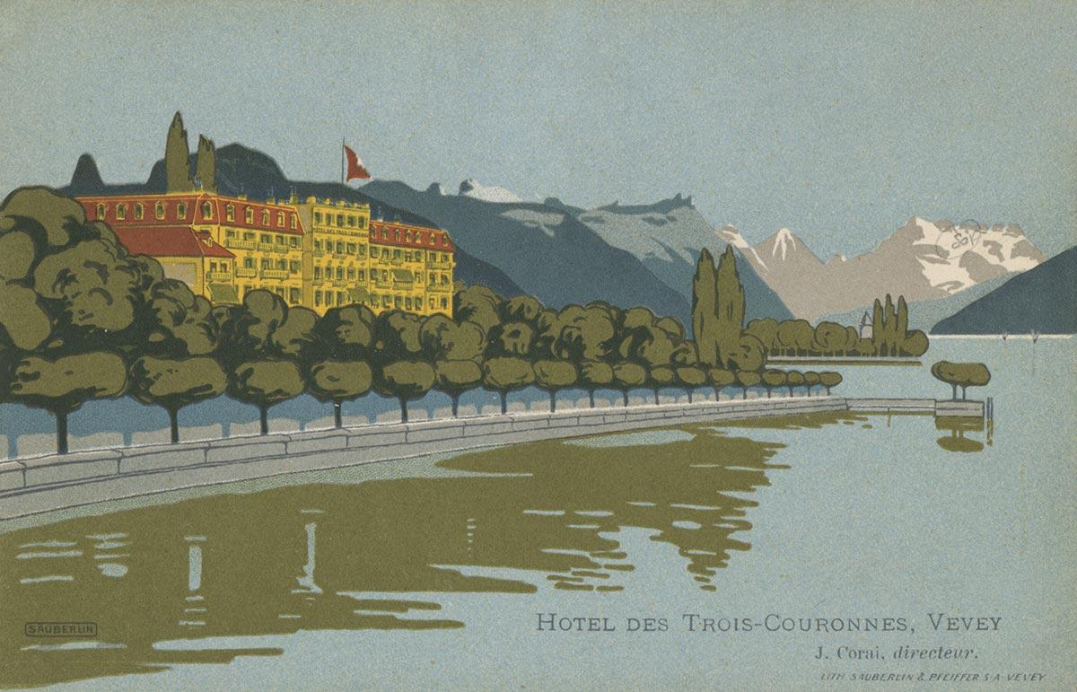 L'hôtel des Trois Couronnes à Vevey a été construit par l'architecte Philippe Franel en 1842. Il est situé sur les rives du lac Léman et bénéficie d'un des plus beaux panoramas de Suisse avec sa vue surplombant le lac, les Alpes et les Dents du Midi. De nombreux hôtes illustres séjournèrent dans cet hôtel et apprécièrent la beauté des lieux. En 1859, la tsarine Charlotte de Prusse, femme du tsar Nicolas 1er, séjourna plusieurs mois à l'hôtel. Sa suite était tellement nombreuse qu'elle loua l'immeuble tout entier pendant l'hiver et invita un grand nombre de personnalités qui contribuèrent grandement à la réputation de l'établissement. En 1873 le Shah de Perse Nassereddin Shah donna un repas à l'hôtel. Parmi ses invités se trouvait le roi de Hollande Guillaume III. En 1913, Ignace Paderewski et Camille Saint-Saëns donnèrent un concert à deux pianos dans les salons de l'hôtel. Le roi d'Italie Victor Emmanuel III et celui d'Angleterre Edouard VII y séjournèrent, mais aussi des écrivains anglais tel qu'Henry James qui écrivit une partie de son roman intitulé «Daisy Miller». L'hôtel servit aussi de cadre pour le film tiré de ce même roman réalisé par Peter Bogdanovich en 1973.