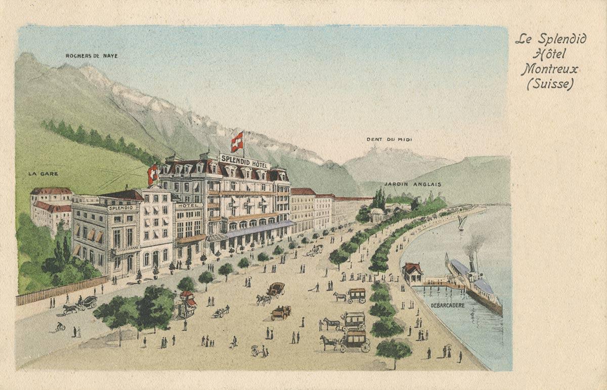 Carte postale. Le Splendid Hôtel - Montreux (Suisse)