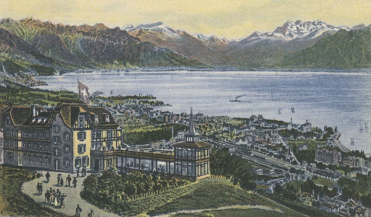 Carte postale. Mont Pélerin sur Vevey, Hôtel des Alpes