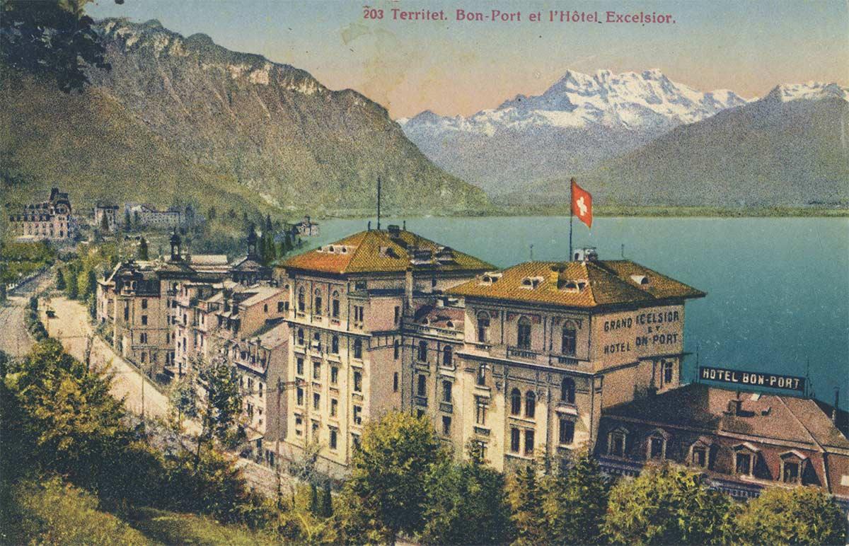 Carte postale. Territet. Bon-Port et l'Hôtel Excelsior