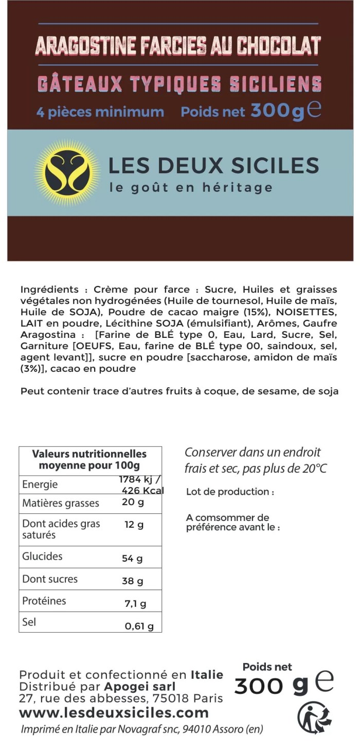 Ingrédients aragostine chocolat
