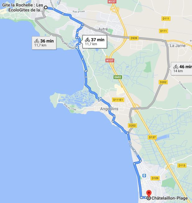 trajet à suivre à vélo pour Chatelaillon plage