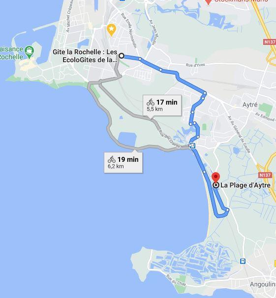 Trajet pour se rendre à la plage d'Aytré