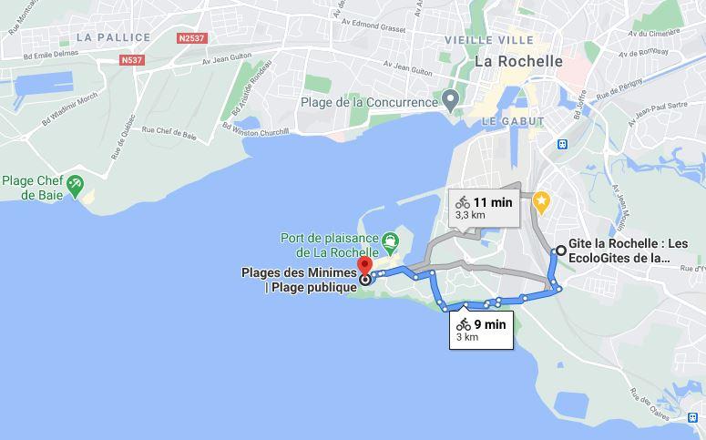 Plan pour se rendre à la plage des Minimes