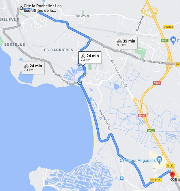 Trajet biocoop la Rochelle Sud