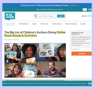 The big list of children's authors doing online read-alouds and activities