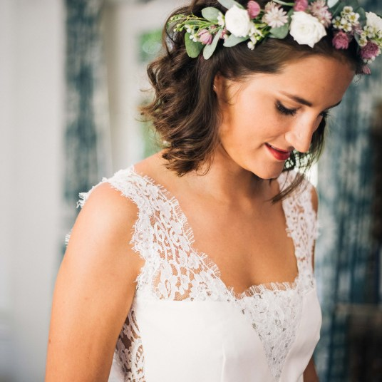 couronne-fleurs-champetre-robe-mariage