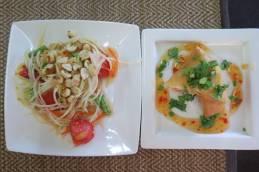 Salade de papaye et rouleau de printemps