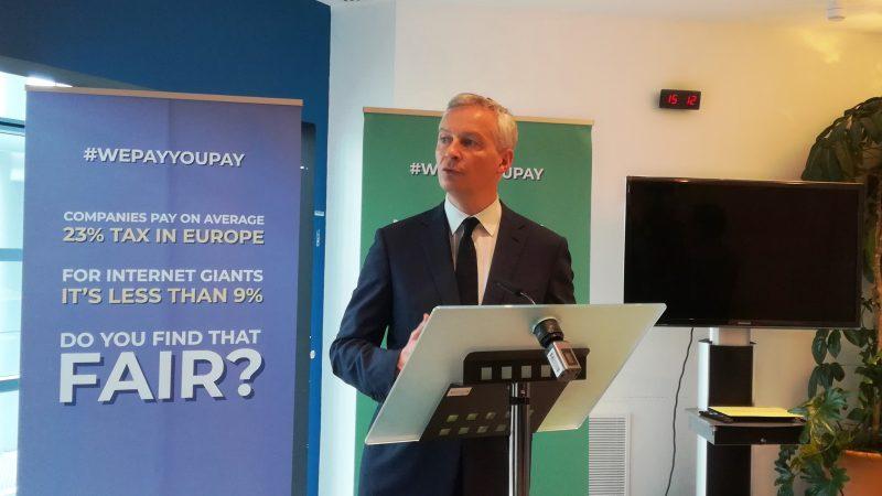Bruno Le Maire en campagne pour la taxe sur les géants du numérique