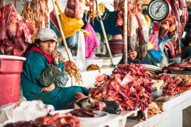 marché cusco viande